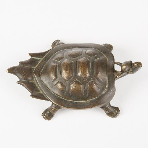 19th c. Chinese Bronze Turtle w/ Silver Inlay - Scroll Weight