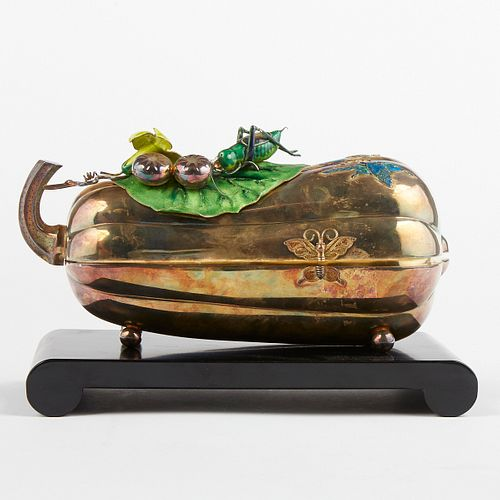 Chinese Gilt & Enameled Silver Melon (Squash) Box w/ Stand