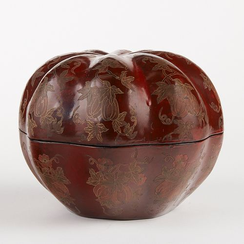 Large Chinese Lacquer Pumpkin Box