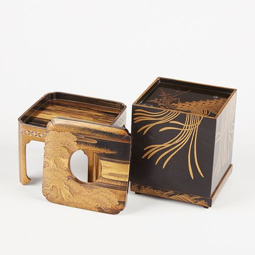 Japanese Lacquered Sake Box w/ Stand