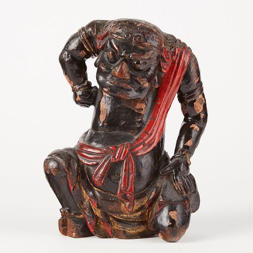 Edo Japanese Wood Lacquer Oni Temple Figure