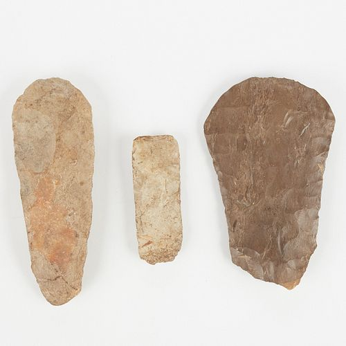 Grp: 3 Stone Tools Midwestern Chert Hoes