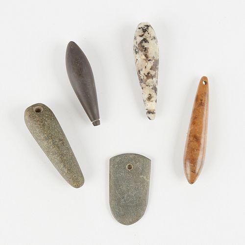 Grp: 4 Stone Plummets and a Pendant