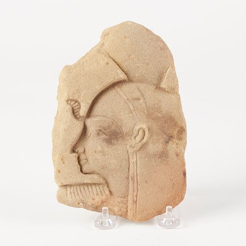 Early Egyptian Sandstone Relief Queen or Goddess Carving