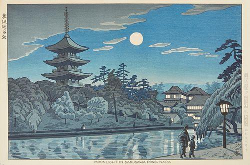 "Asano Takeji ""Moonlight in Sarasawa Pond Nara"" Japanese Woodblock Print"