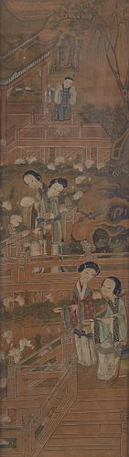 19th c. Chinese Painting Gouache on Paper of Courtiers Fishing