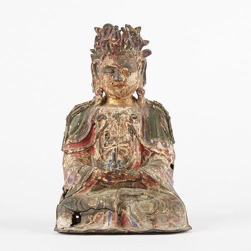 17th Century Chinese Polychromed Bronze Buddha