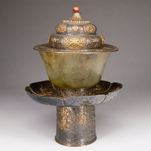 Chinese Tibetan Silver Gilt Cup Stand Lid