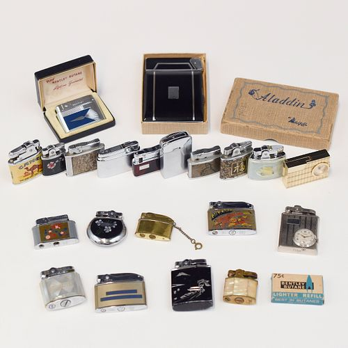 Lrg Grp: Assorted Mechanical Lighters and Cigarette Case