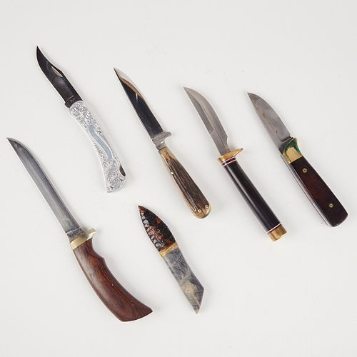 Grp: 6 Hunting Knives - Marble's - Ithaca Gun - Buck