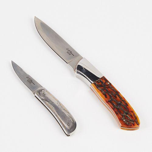 Grp: 2 E.G. (Eldon) Peterson Knife w/ Folding Knife