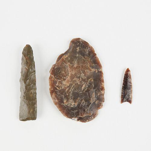 Grp: 3 Stone Points Arrowhead Knife
