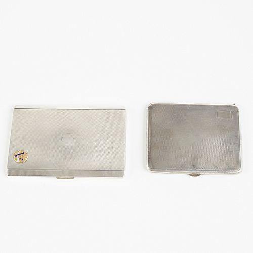 Grp: Sterling Silver Cigarette Cases - Dunhill