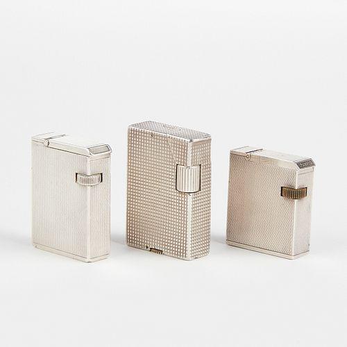 Grp: 3 Dunhill Sterling Silver Broadboy Lighters