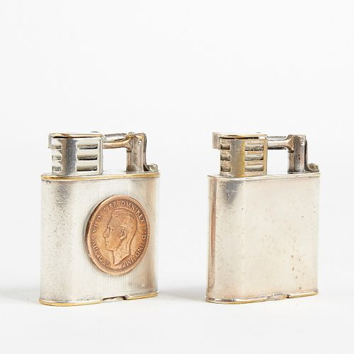 Grp: 2 Dunhill Silver Plated Club Sport Lighters