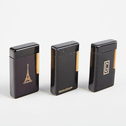 Grp: 3 Dunhill Black Enameled Lighters For Jaeger LeCoultre