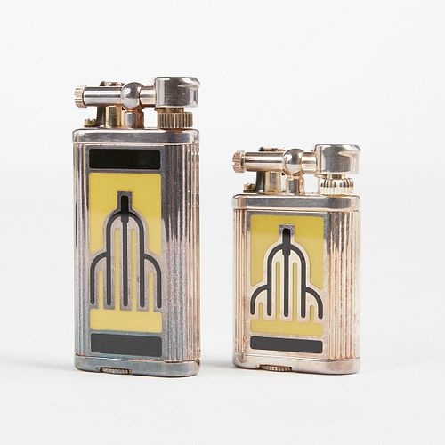 """Pair of Dunhill """"Chicago"""" Enamel Swing Arm Lighters - Boxes"""