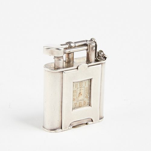 Dunhill Sterling Silver Swing Arm Lighter with Clock