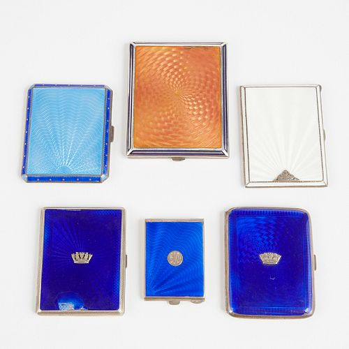 Grp: Sterling Silver and Enameled Cigarette Cases