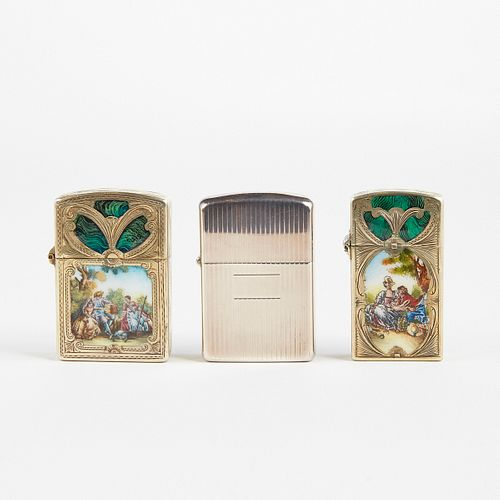 Grp: 3 Sterling Silver and Enamel Zippo Lighters