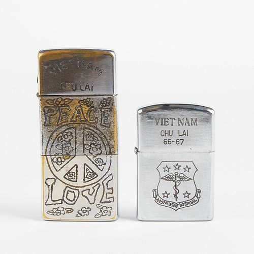Grp: Vietnam Era Trench Art Zippo Lighters