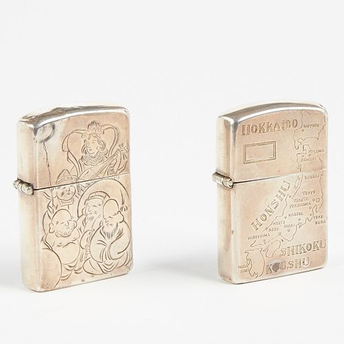Grp: Sterling Silver Zippo Lighters With Japanese Engraving
