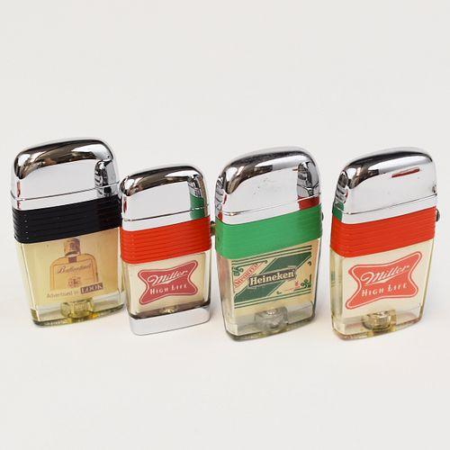 Grp: 4 Scripto Windguard Vu-lighters w/ Tins