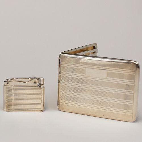 Ronson Sterling Silver Adonis Lighter and Cigarette Case Set