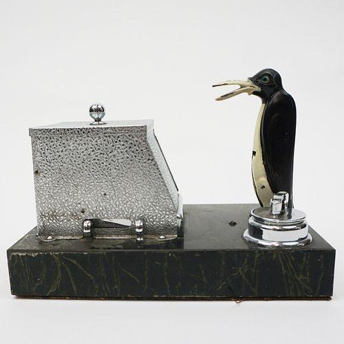 """Ronson Pik-A-Cig Penguin """"New Yorker"""" Table Lighter"""