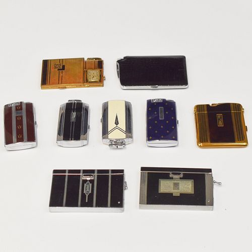Grp: 9 Ronson Combo Cigarette Case and Lighters