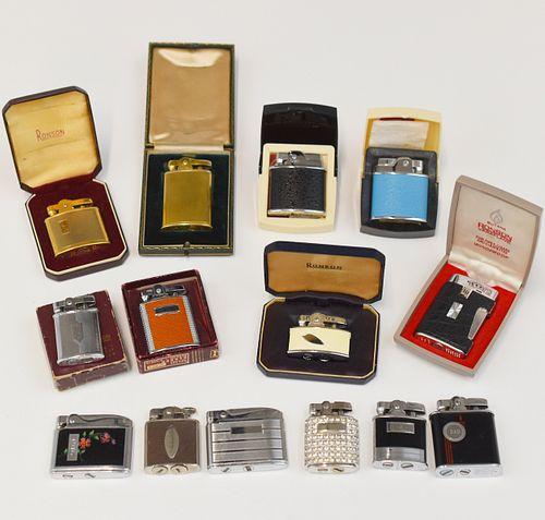 Grp: 14 Boxed Ronson Art Deco Enameled Lighters