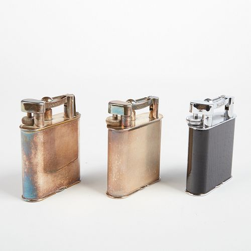 Grp: 3 Dunhill Lift Arm Silver Plated Table Lighters