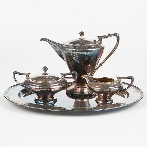 Derby Co. American Arts & Crafts Silver Plated Tea-Coffee Set