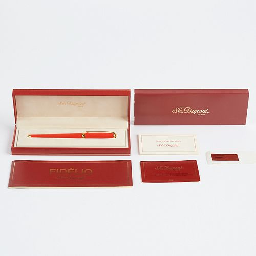 S.T. Dupont Lacquered Ball Point Pen in Coral Red
