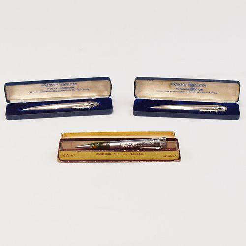 Grp: 3 Ronson Penciliter Mechanical Pencil & Lighters w/ Boxes