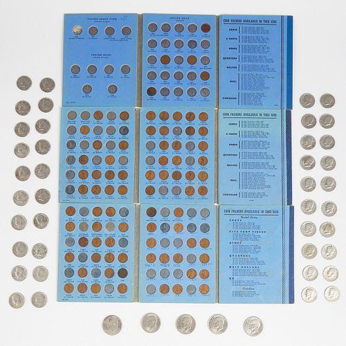 Grp: Dollar & Half Dollar Coins w/ Coin Folders/Books