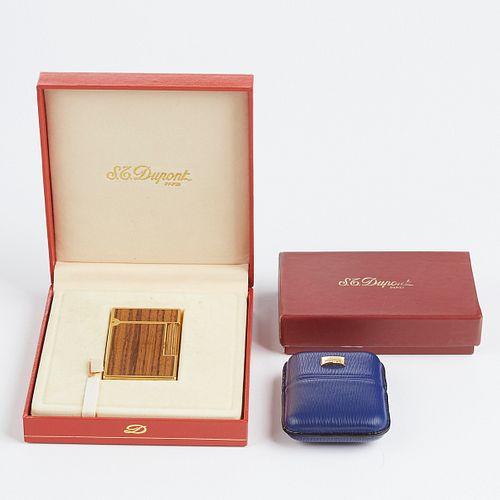 S.T. Dupont Gold Plated Wood Veneer Lighter