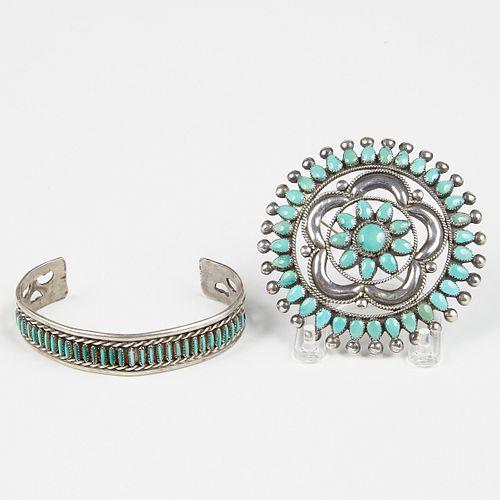 20th c. Native American Zuni Silver Turquoise Jewelry Brooch & Bangle