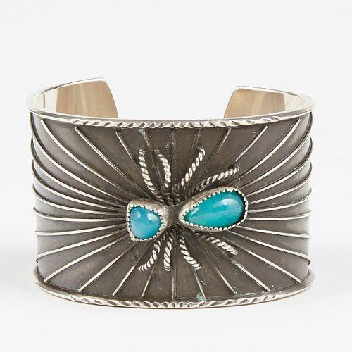 SW Native American Silver & Chrysocolla-In-Chalcedony Spider & Web Cuff