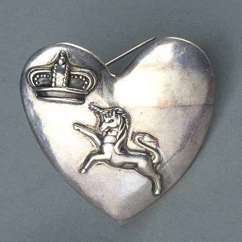 Los Castillo Taxco Heart w/ Crown & Unicorn Brooch