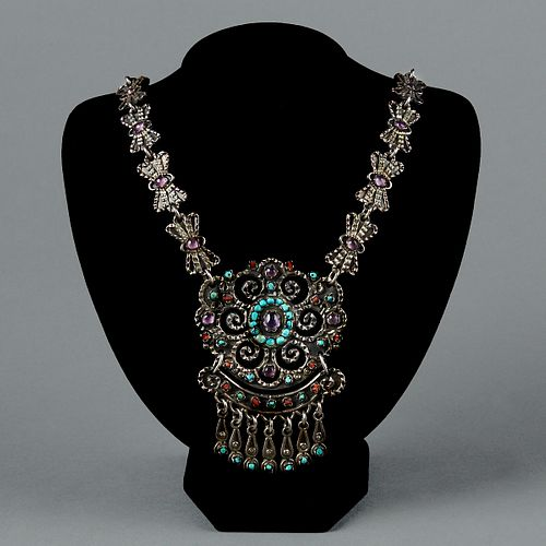 Mexican Sterling Silver Ornate Matl Style Necklace