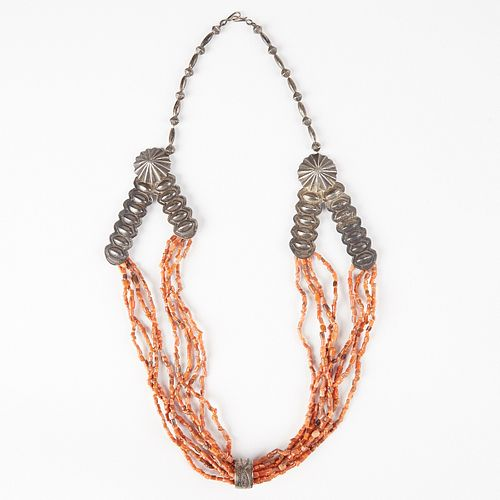 Southwest Native American Silver & Coral Necklace