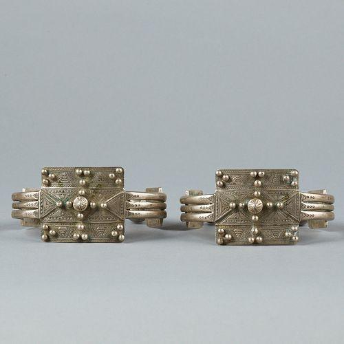 Pair of Bedu Bedouin North African Silver Arm Cuffs