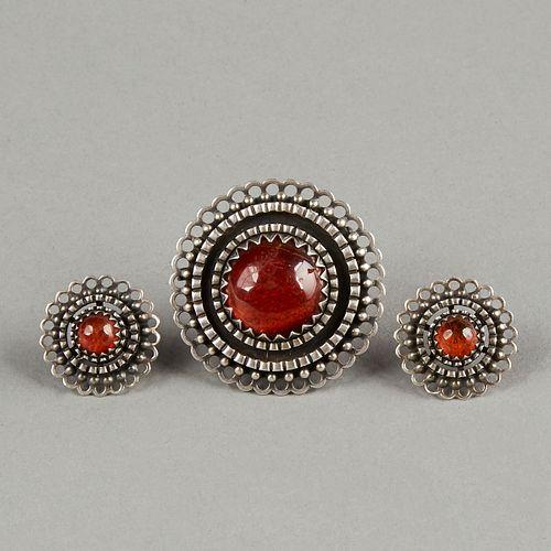 E. Grunberg Scandinavian Deco Silver & Amber Jewelry Set