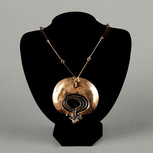 Scandinavian Brutalist Bronze Pendant Necklace