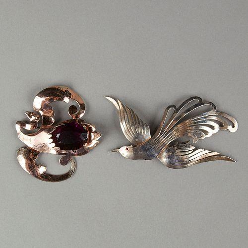 Grp: 2 20th c. Silver Gilt Rhinestone Bird Pins