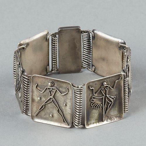 20th c. Modern Silver Dancers Bracelet