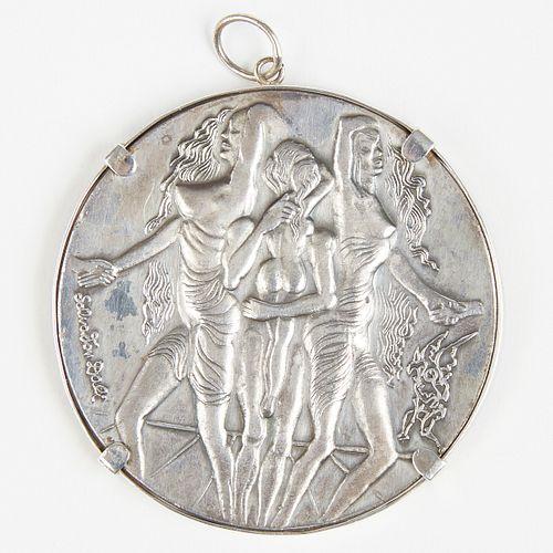 "Salvador Dali 1978 ""Peace"" Silver Medallion Pendant"