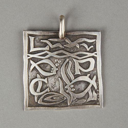 After Picasso A. Augis Lyon Modernist Silver Pendant