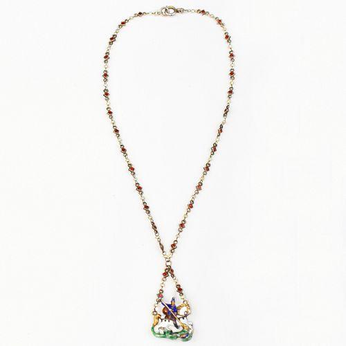 Austro-Hungarian St. George Slaying Dragon Enameled Necklace